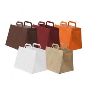Bolsas de papel asa plana base ancha