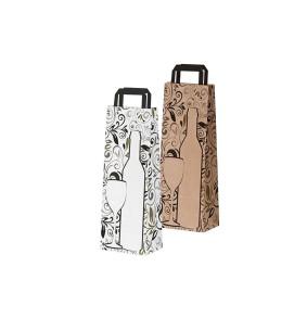 Saco de papel asas planas - garrafas de design