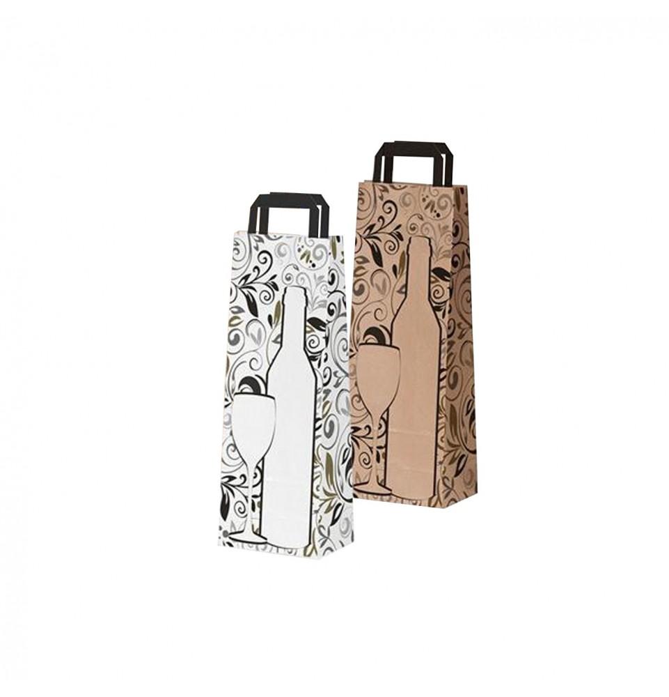 Bolsas de papel asa plana - Botella diseño